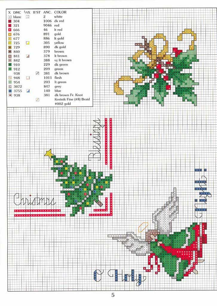 Patrones navideños para punto de cruz